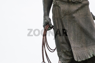 Porto Alegre, Brazil - September 16, 2018: Sculpture of the typical Brazilian gaucho, called work (M