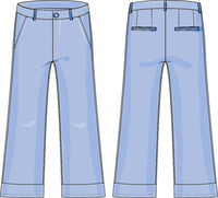 Woman flared jeans technical drawing vectors with long, knee-high pants.