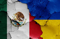flags of Mexico and Ukraine painted on cracked wall
