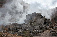 The sulfurous fumes of Owakudani  Valley.  Hakone area. Honshu. Japan