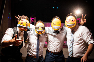 selfie friends group bachelor party men emoji mask