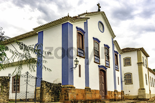Facade of an ancient church built in the 18th century in baroque style