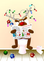 Deer reading a newspaper for Christmas