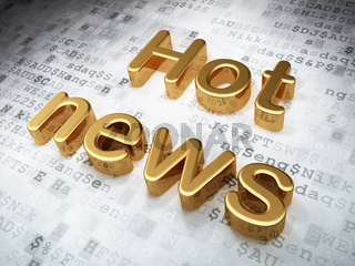 News concept: Golden Hot News on digital background