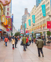 Nanjing road shopping people Shanghai