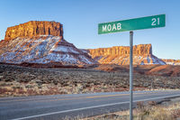 Moab 21 miles road sign near Casttle Valley in Utah