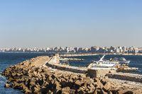 Breakwater rocks that fences Al Mina'ash Sharqiyah eastern harbor in Alexandria
