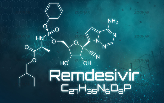 Chemical formula of Remdesivir on a futuristic background