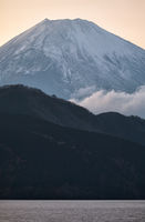 Mount Fuji summit in the clouds. Hakone area of Kanagawa Prefecture in Honshu. Japan