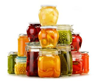 Jars with pickled vegetables