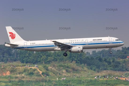 Air China Airbus A321 Flugzeug Flughafen Chengdu