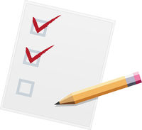 Checklist with pencil flat design illustration. Two of three