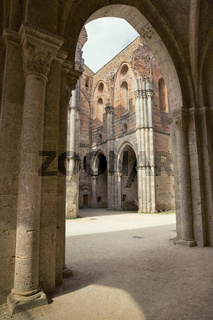 The internal layout of the Abbey of San Galgano