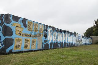 Graffiti an Kampfbahn Glückauf, S04, in Gelsenkirchen Schalke, Deutschland