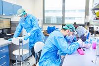 Gruppe Wissenschaftler forschen im Labor an Covid-19