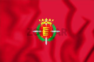 3D Flag of Valladolid City, Spain. 3D Illustration.