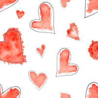 Seamless pattern of Abstract watercolor hearts set.