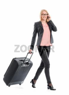 geschäftsfrau mit reisekoffer