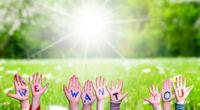 Children Hands Building Word We Want You, Grass Meadow