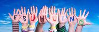 Children Hands Building Fruehling Means Spring, Blue Sky