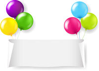 White Paper Banner With White Balloons Transparent Background