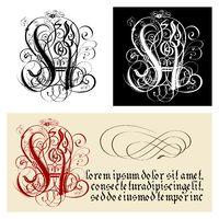 Decorative Gothic Letter H. Uncial Fraktur calligraphy.