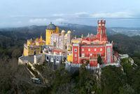 Pena Palace at morning in Sintra