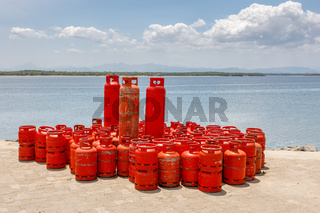 red Domestic Propane Gas Bottle