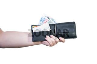 Geldbörse in der Hand