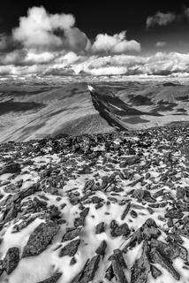 Blick in die Taeler Ballinvaggi und Gaskariehppi, Abiskoalpen, Lappland