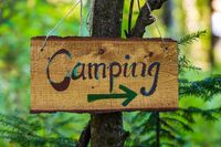 Handmade wooden camping sign in forest