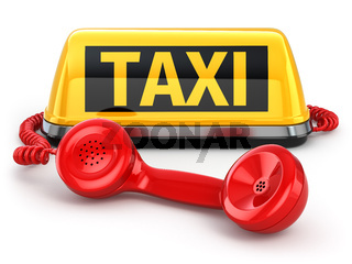 Taxi car sign and  telephone on white isolated background.