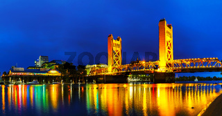 Panorama of Golden Gates drawbridge in Sacramento