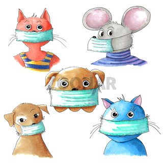 Pets with protective face masks