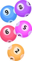 Balls with lotto bingo numbers, lottery numbered balls for keno game, icon flat style. Isolated on a white background. Vector illustration