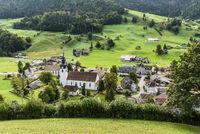Blick auf das Dorf Wildhaus-Alt Sankt Johann, Toggenburg, Kanton St. Gallen, Schweiz