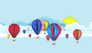 Sky with hot air balloons