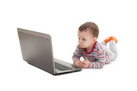 little boy and laptop isolated