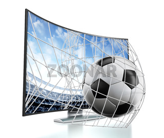 Ball and net going out of curved TV with OLED screen