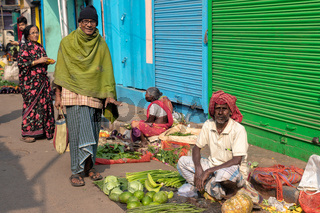 Street markets of Calcutta.There is a lot of street market in the old town .