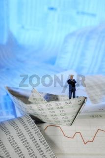Papierschiff und Manager