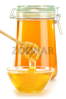 Composition with jar, dish of honey and stick