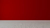 Empty room with painted red wall and white wooden floor realistic 3D rendering
