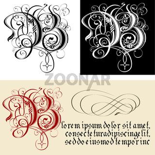 Decorative Gothic Letter B. Uncial Fraktur calligraphy.