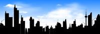 City skyline on blue sky background