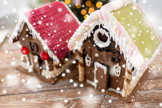 closeup of beautiful gingerbread houses at home