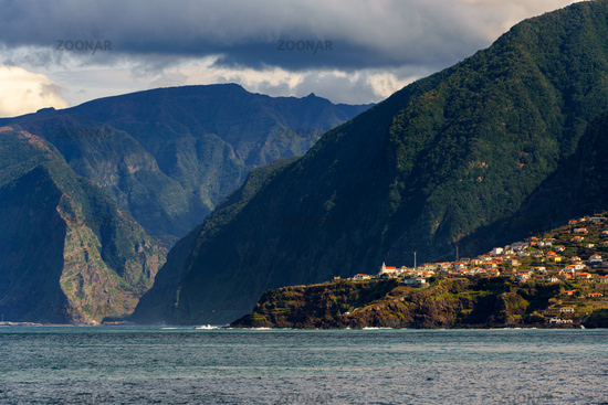 Seixal and São Vicente on the middle of the mountain landscape in Madeira
