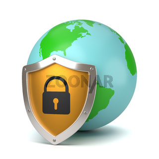 Earth Protected by a Yellow Metallic Shield with Padlock