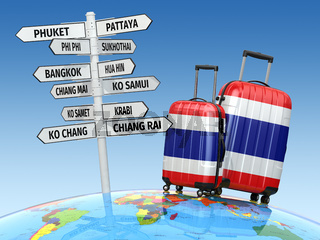 Travel concept. Suitcases and signpost what to visit in Thailand.