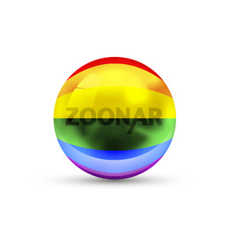 LGBT rainbow pride flag projected as a glossy sphere on a white background